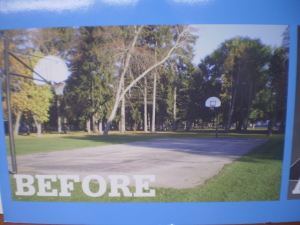 Before photo of old basketball court