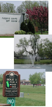 Club house, fountain and photo of hole 1